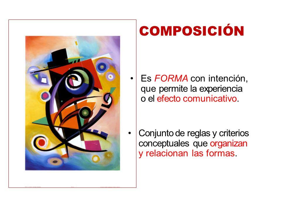 COMPOSICIÓN Es FORMA con intención, que permite la experiencia o el efecto comunicativo.