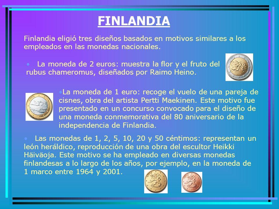 FINLANDIA Finlandia eligió tres diseños basados en motivos similares a los empleados en las monedas nacionales.