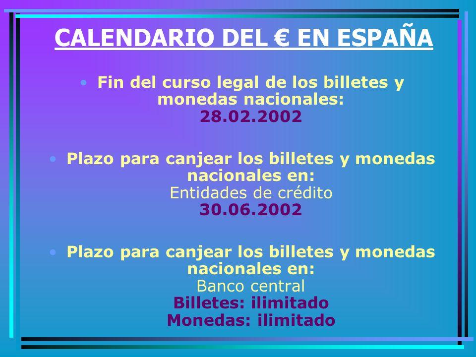 CALENDARIO DEL € EN ESPAÑA