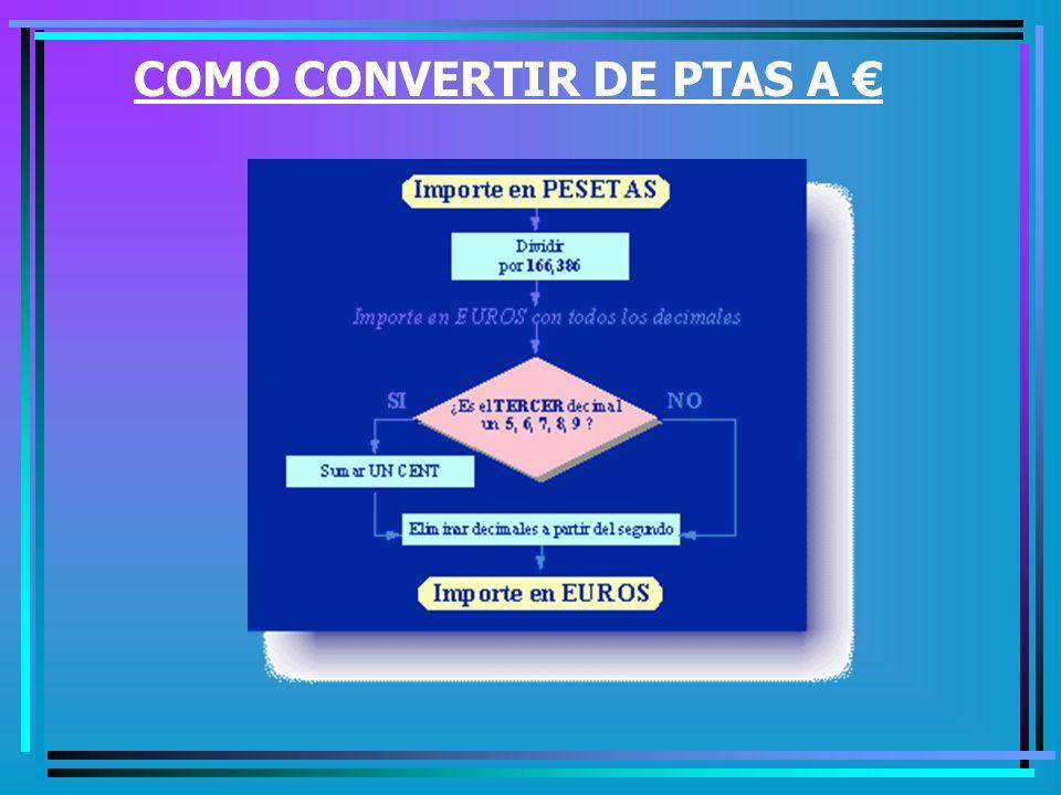 COMO CONVERTIR DE PTAS A €
