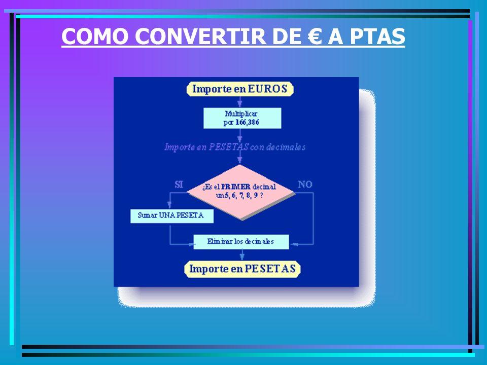 COMO CONVERTIR DE € A PTAS