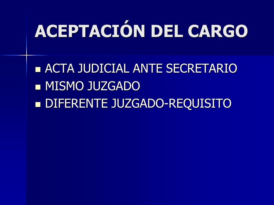 ACEPTACIÓN DEL CARGO ACTA JUDICIAL ANTE SECRETARIO MISMO JUZGADO