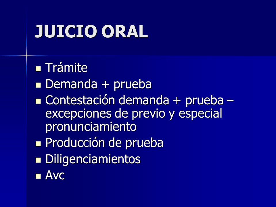 JUICIO ORAL Trámite Demanda + prueba