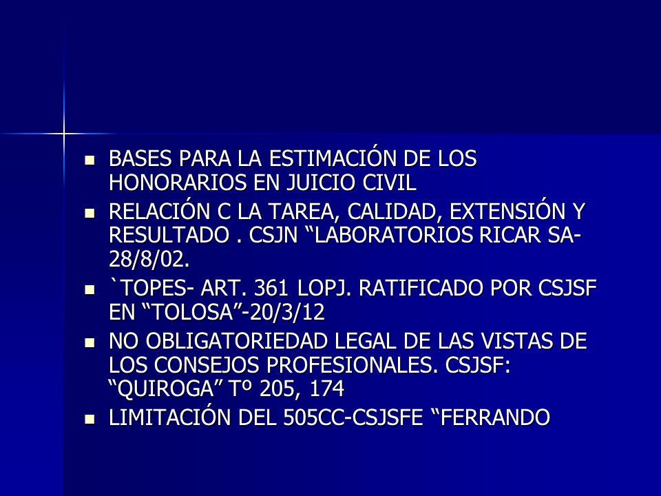 BASES PARA LA ESTIMACIÓN DE LOS HONORARIOS EN JUICIO CIVIL
