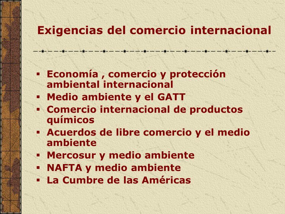 Exigencias del comercio internacional