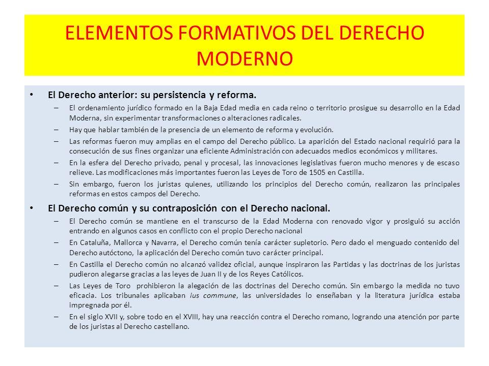 ELEMENTOS FORMATIVOS DEL DERECHO MODERNO