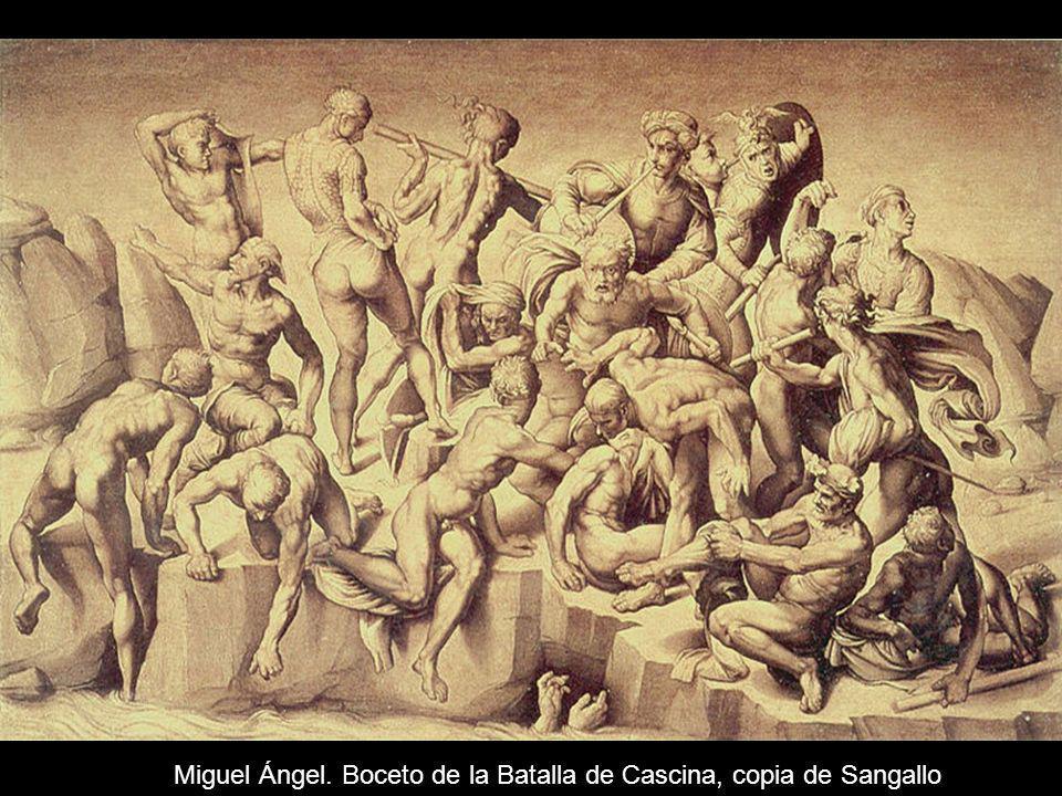 Miguel Ángel. Boceto de la Batalla de Cascina, copia de Sangallo