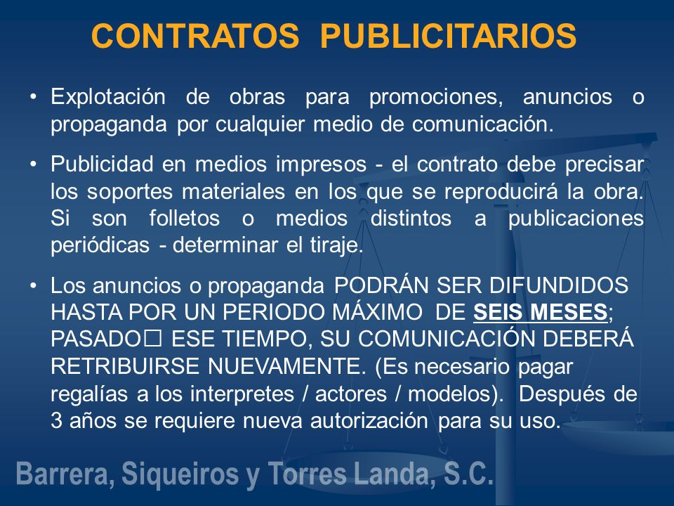 CONTRATOS PUBLICITARIOS Barrera, Siqueiros y Torres Landa, S.C.