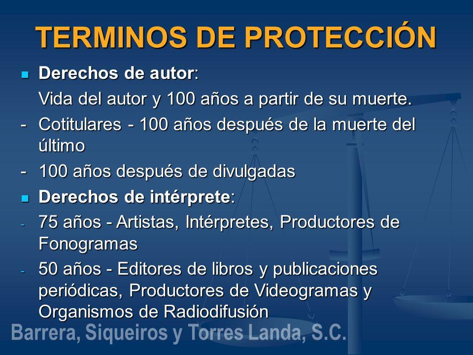 TERMINOS DE PROTECCIÓN Barrera, Siqueiros y Torres Landa, S.C.