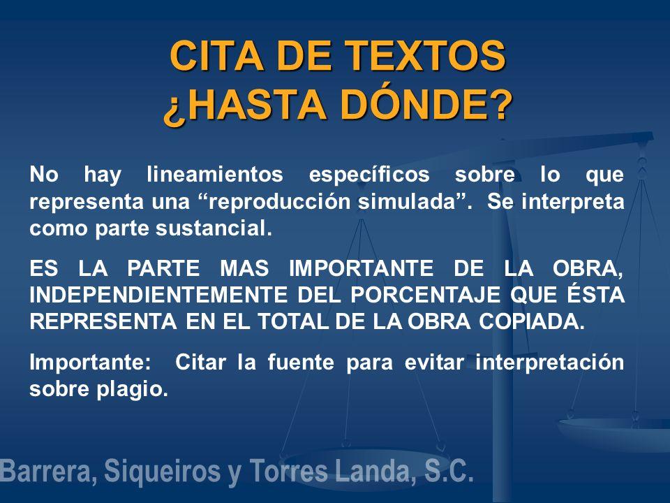 CITA DE TEXTOS ¿HASTA DÓNDE