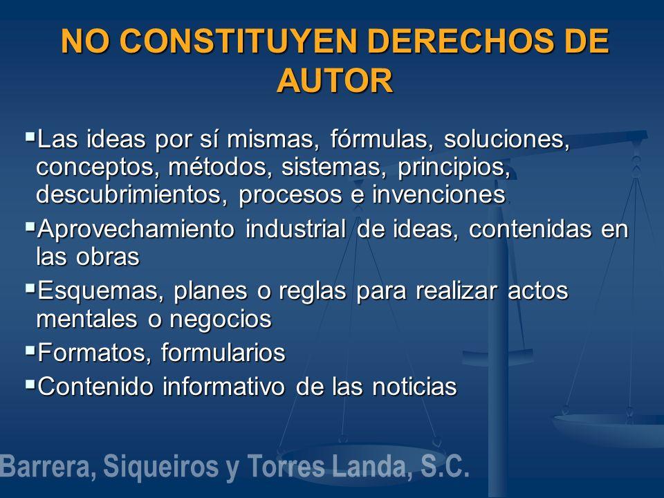 NO CONSTITUYEN DERECHOS DE AUTOR