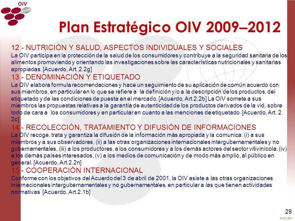Plan Estratégico OIV 2009–2012 12 - NUTRICIÓN Y SALUD, ASPECTOS INDIVIDUALES Y SOCIALES.
