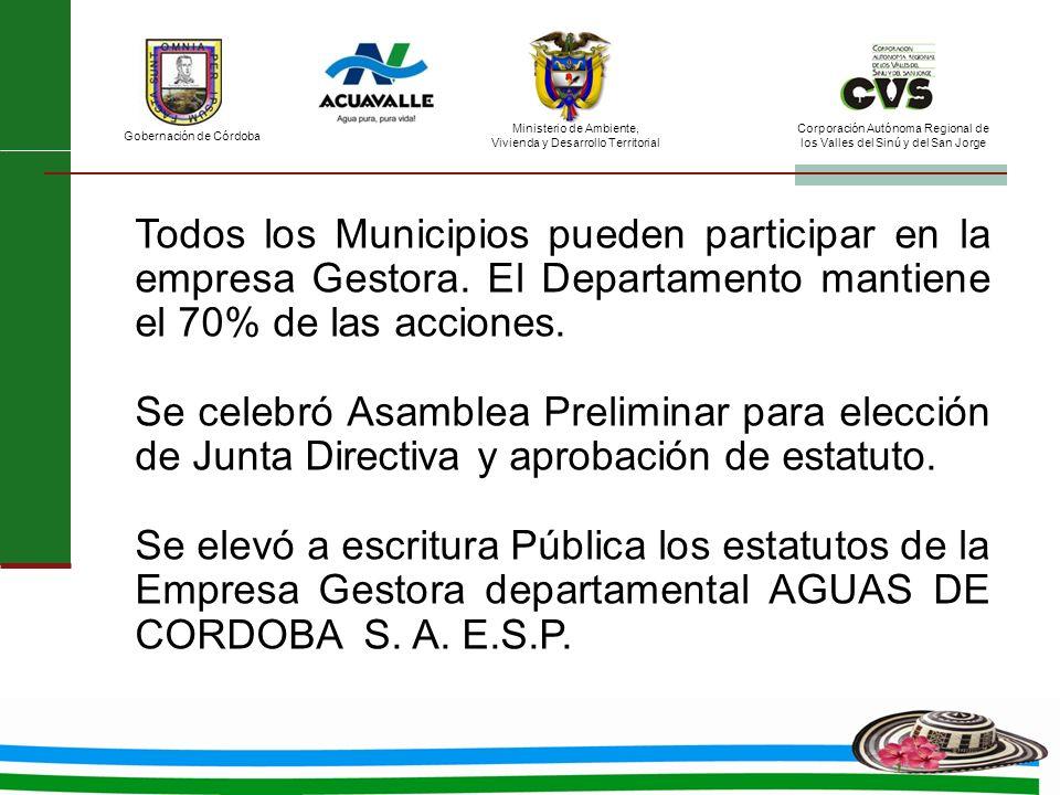 Todos los Municipios pueden participar en la empresa Gestora