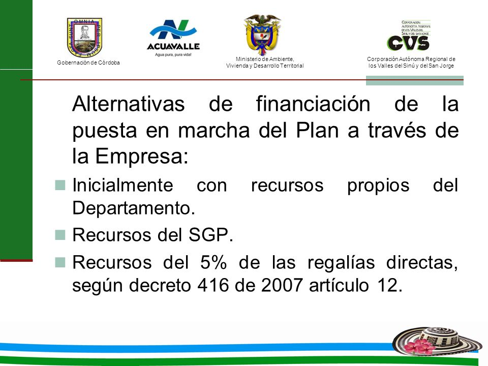 Alternativas de financiación de la puesta en marcha del Plan a través de la Empresa: