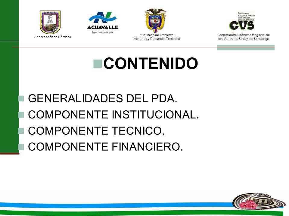 CONTENIDO GENERALIDADES DEL PDA. COMPONENTE INSTITUCIONAL.