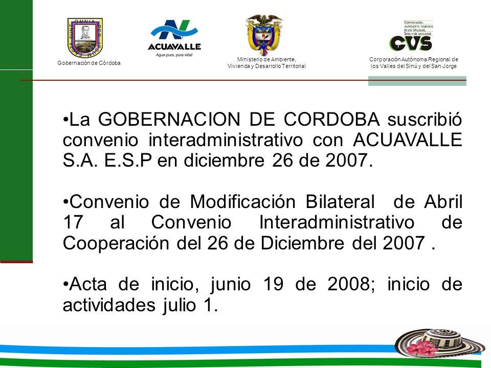 La GOBERNACION DE CORDOBA suscribió convenio interadministrativo con ACUAVALLE S.A. E.S.P en diciembre 26 de 2007.