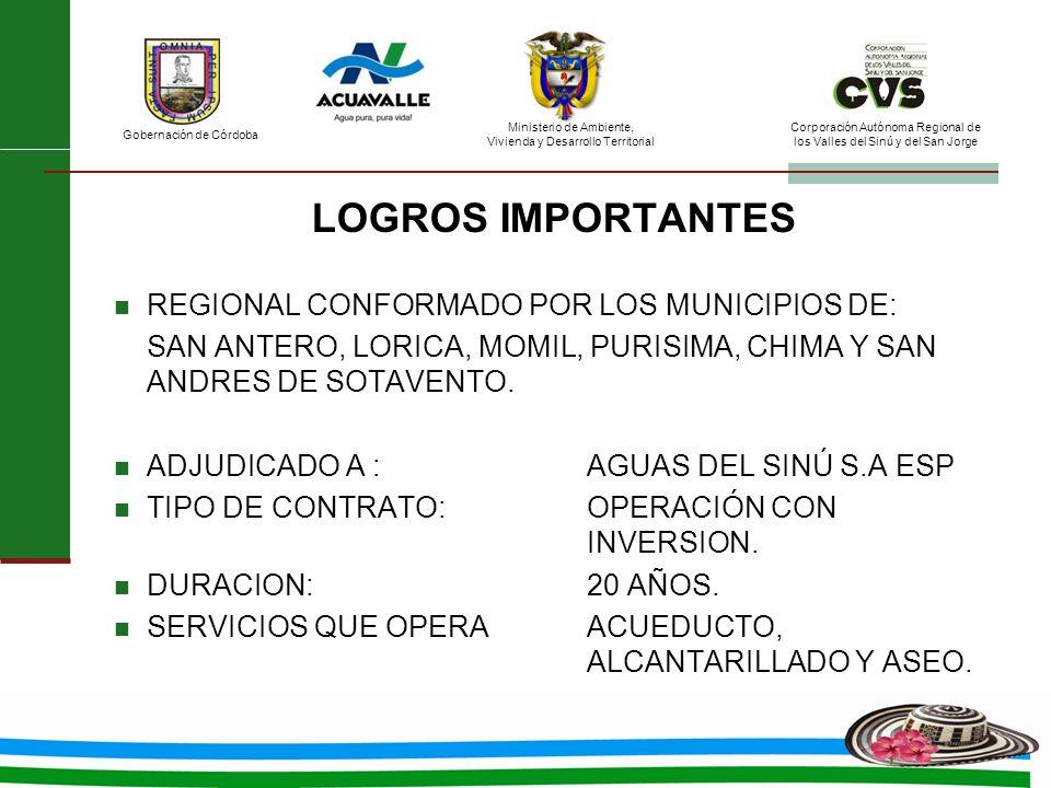 LOGROS IMPORTANTES REGIONAL CONFORMADO POR LOS MUNICIPIOS DE: