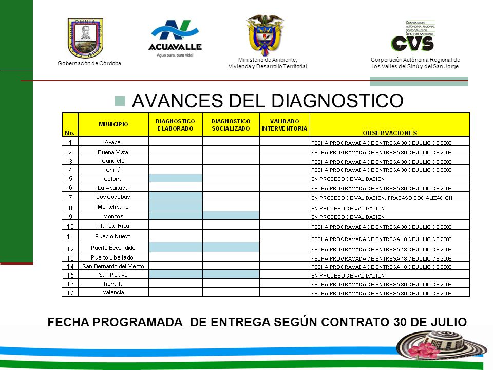 AVANCES DEL DIAGNOSTICO