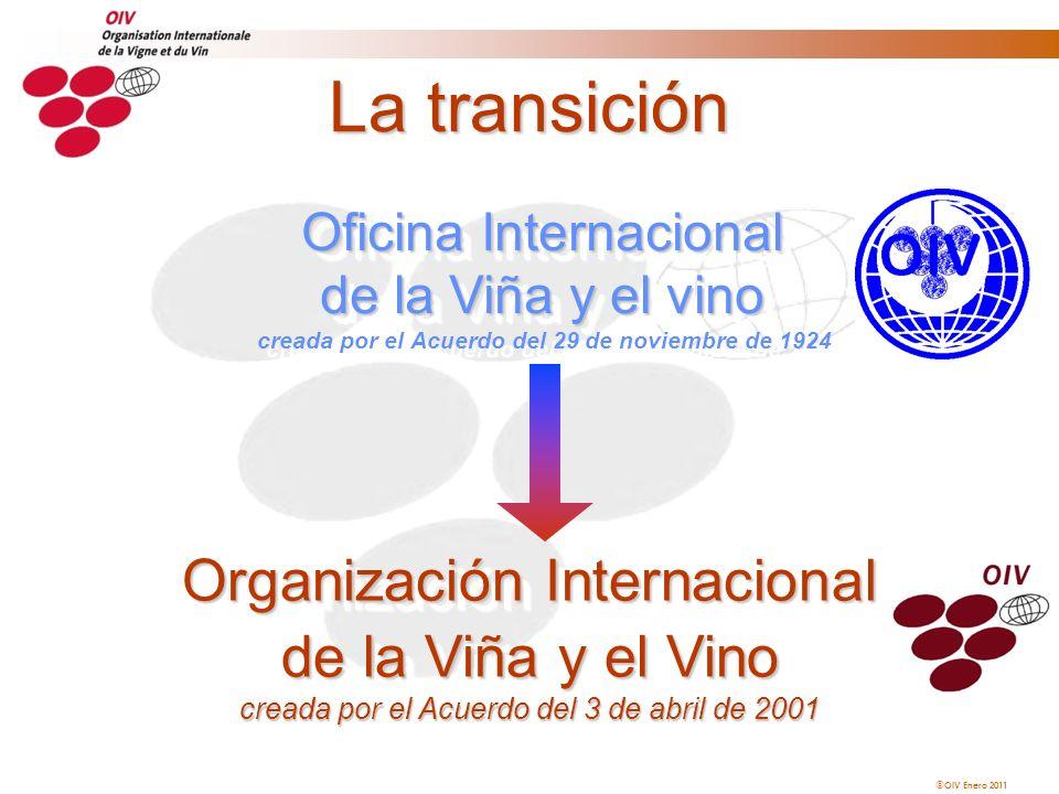 La transición Oficina Internacional de la Viña y el vino creada por el Acuerdo del 29 de noviembre de 1924.