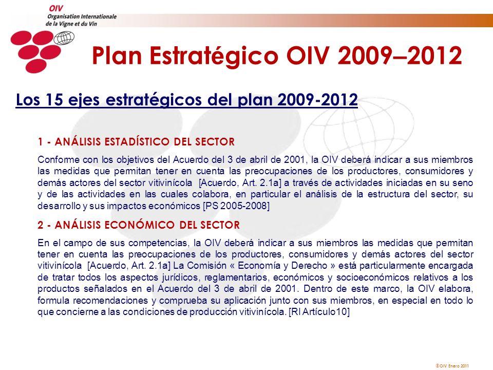 Plan Estratégico OIV 2009–2012 Los 15 ejes estratégicos del plan 2009-2012. 1 - ANÁLISIS ESTADÍSTICO DEL SECTOR.