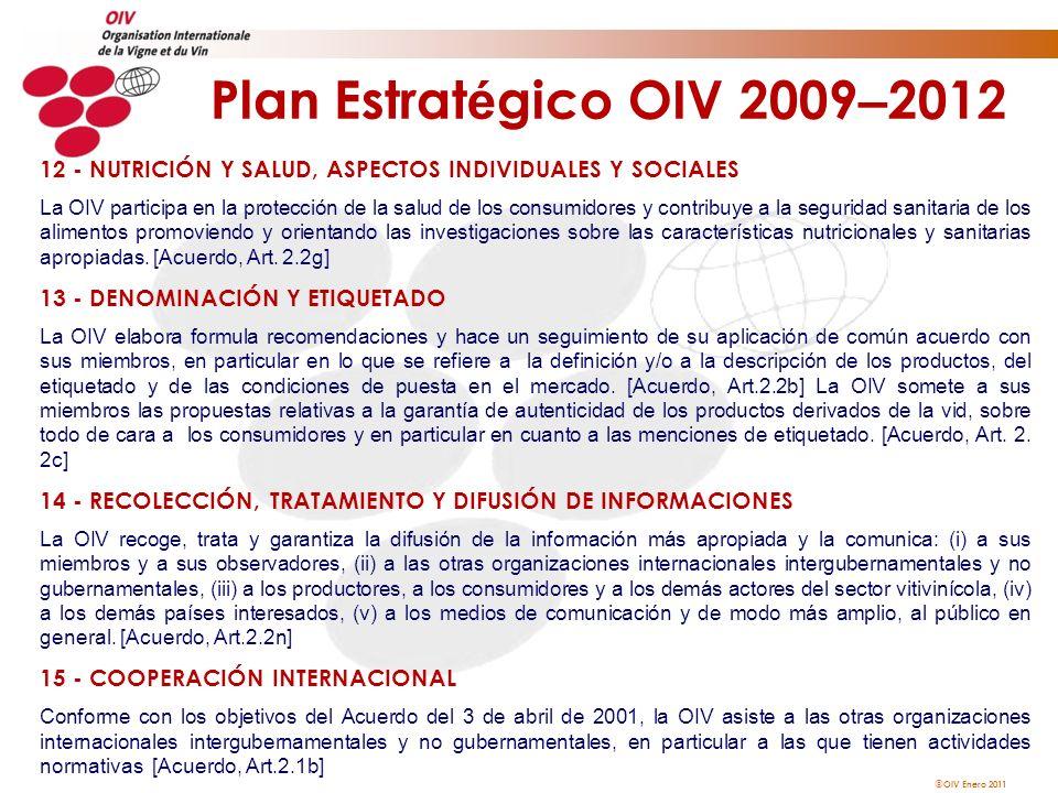 Plan Estratégico OIV 2009–201212 - NUTRICIÓN Y SALUD, ASPECTOS INDIVIDUALES Y SOCIALES.