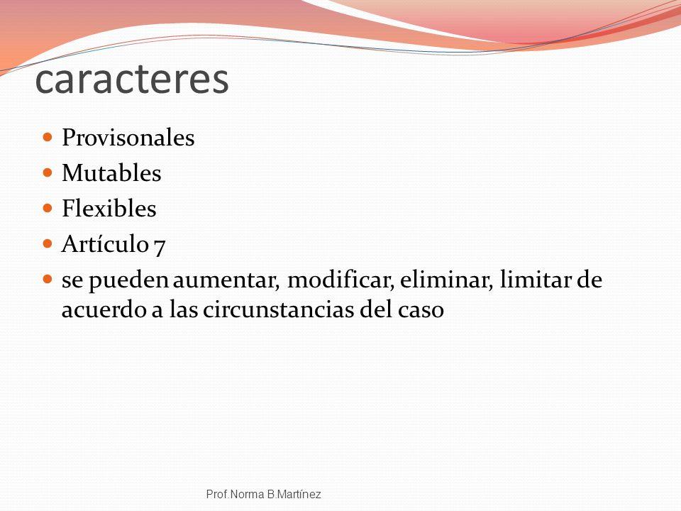 caracteres Provisonales Mutables Flexibles Artículo 7