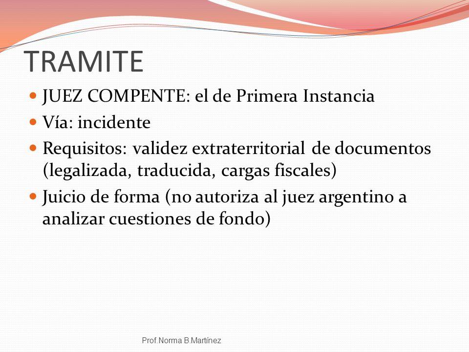 TRAMITE JUEZ COMPENTE: el de Primera Instancia Vía: incidente
