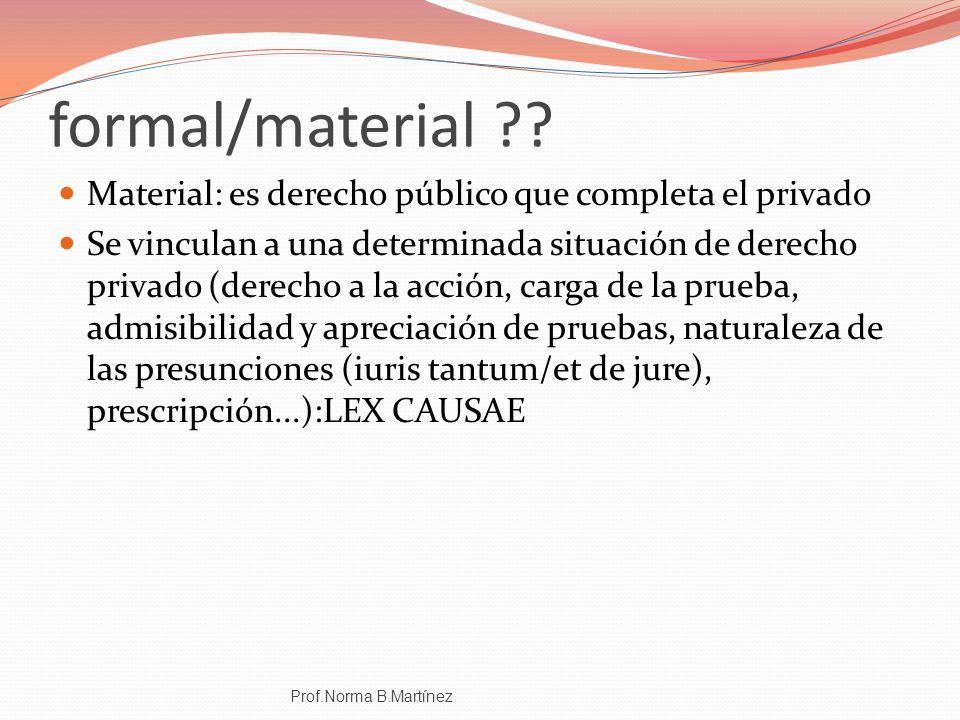 formal/material Material: es derecho público que completa el privado.