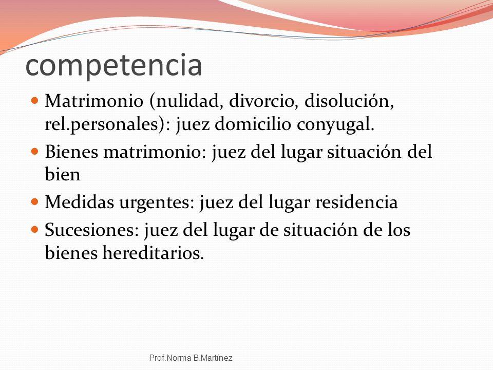 competencia Matrimonio (nulidad, divorcio, disolución, rel.personales): juez domicilio conyugal.