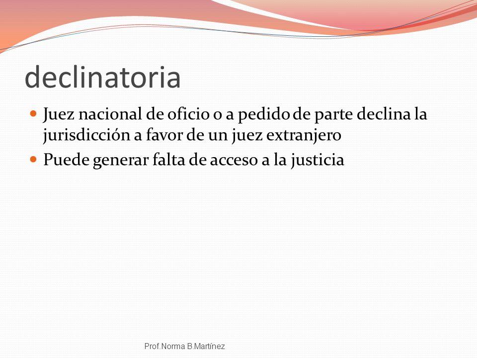 declinatoria Juez nacional de oficio o a pedido de parte declina la jurisdicción a favor de un juez extranjero.