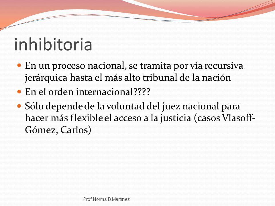 inhibitoria En un proceso nacional, se tramita por vía recursiva jerárquica hasta el más alto tribunal de la nación.