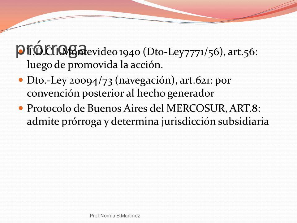 prórroga T.D.C.I.Montevideo 1940 (Dto-Ley7771/56), art.56: luego de promovida la acción.