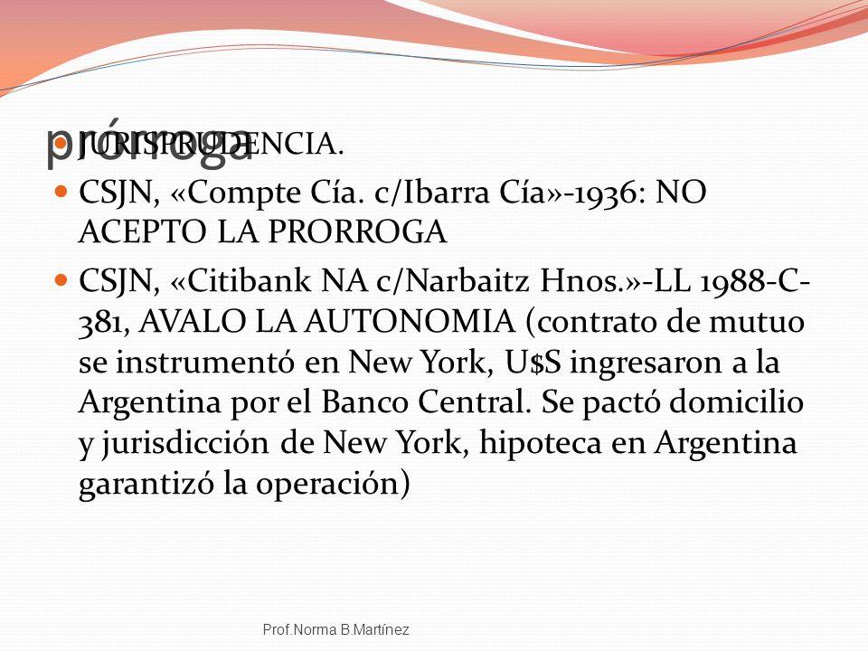 prórroga CSJN, «Compte Cía. c/Ibarra Cía»-1936: NO ACEPTO LA PRORROGA