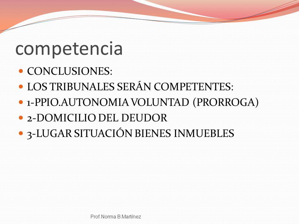 competencia CONCLUSIONES: LOS TRIBUNALES SERÁN COMPETENTES: