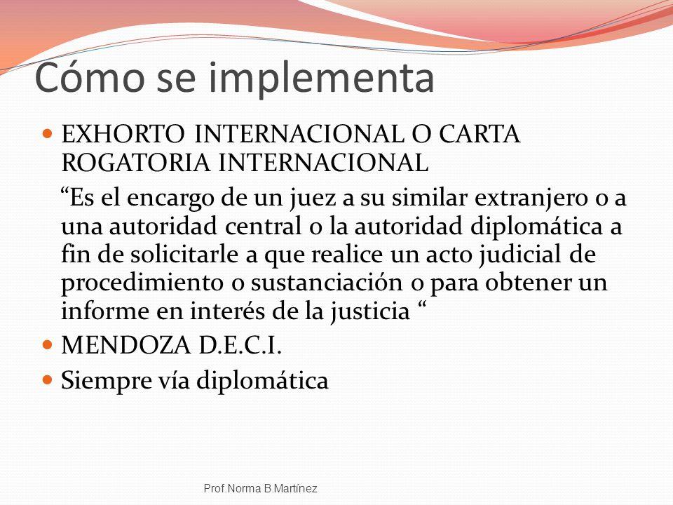 Cómo se implementa EXHORTO INTERNACIONAL O CARTA ROGATORIA INTERNACIONAL.