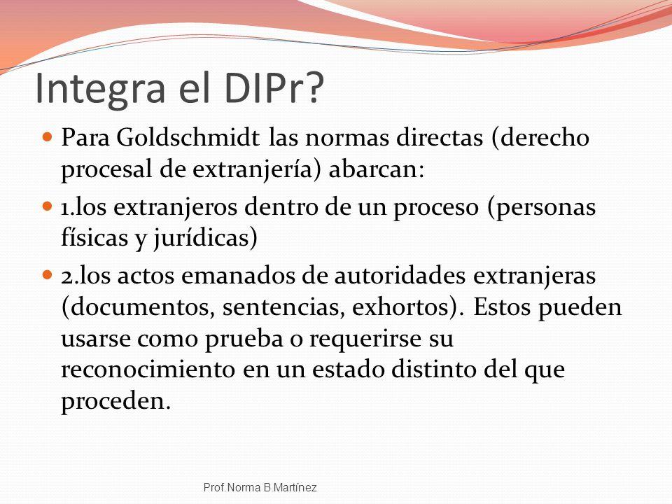 Integra el DIPr Para Goldschmidt las normas directas (derecho procesal de extranjería) abarcan: