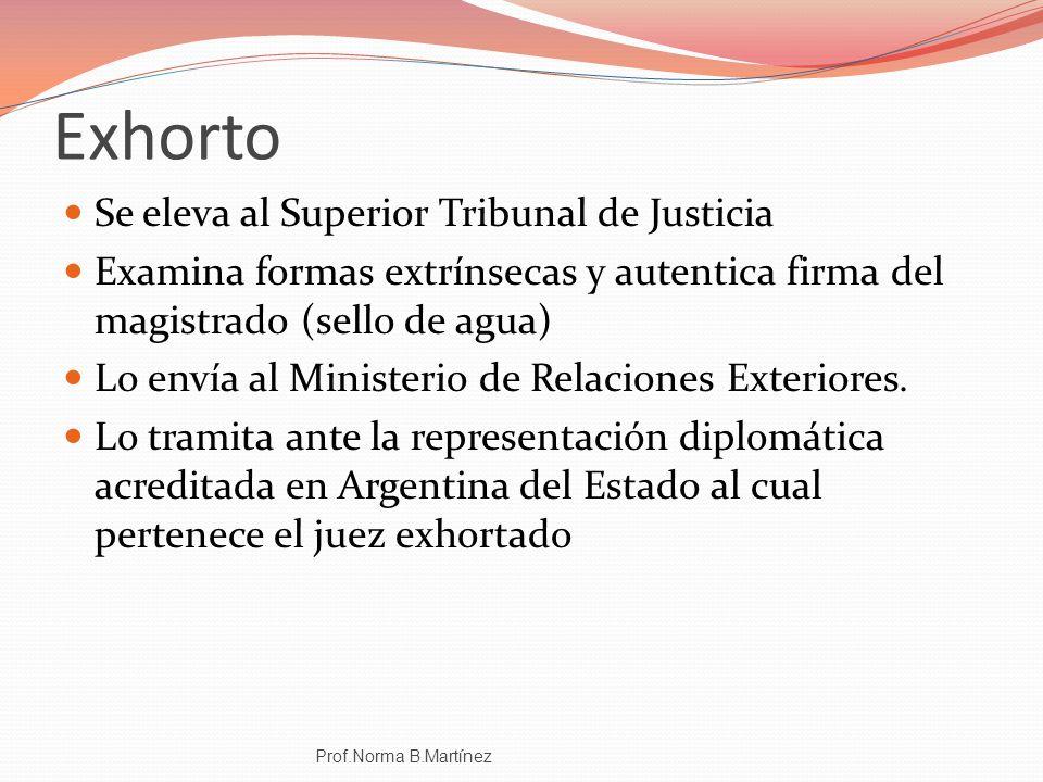Exhorto Se eleva al Superior Tribunal de Justicia