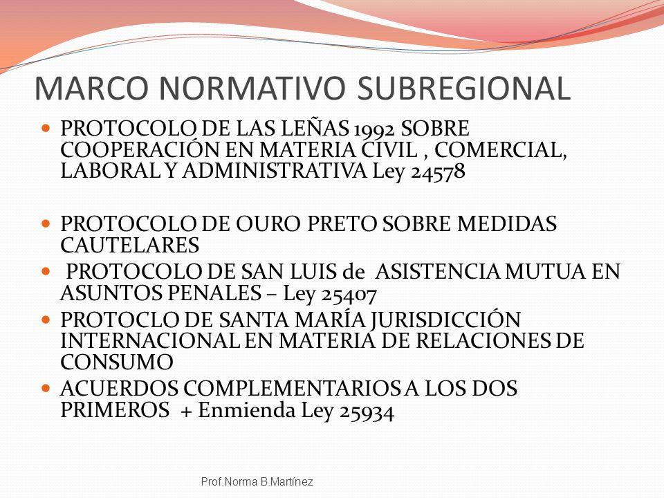 MARCO NORMATIVO SUBREGIONAL