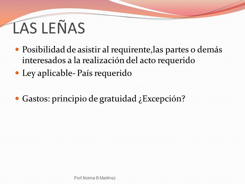 LAS LEÑAS Posibilidad de asistir al requirente,las partes o demás interesados a la realización del acto requerido.