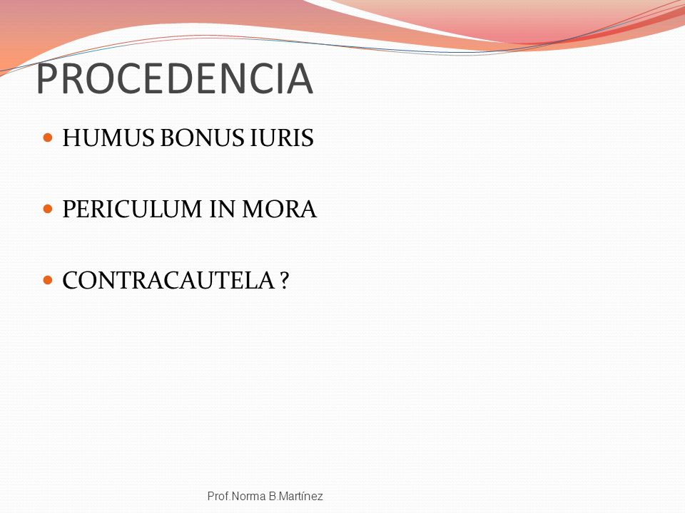 PROCEDENCIA HUMUS BONUS IURIS PERICULUM IN MORA CONTRACAUTELA