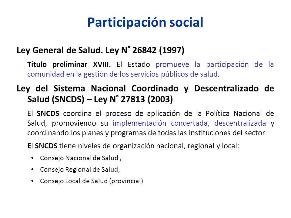 Participación social Ley General de Salud. Ley N° 26842 (1997)