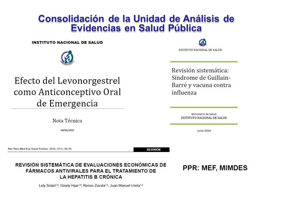 Consolidación de la Unidad de Análisis de Evidencias en Salud Pública
