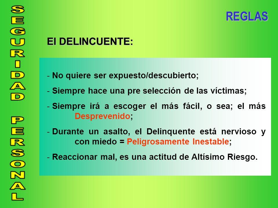 REGLAS El DELINCUENTE: No quiere ser expuesto/descubierto;