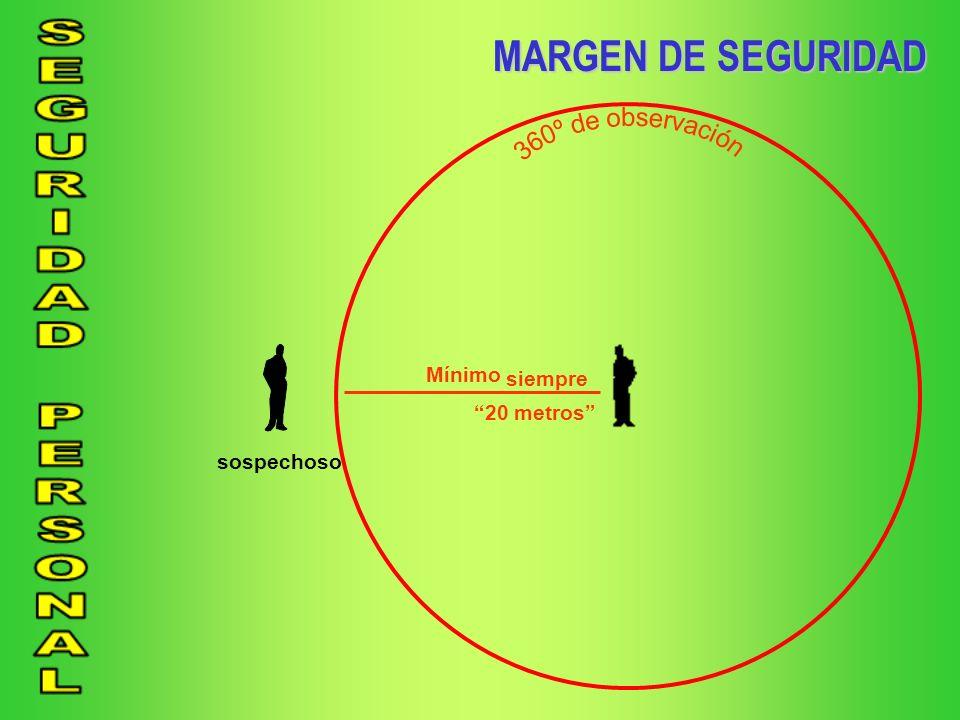 MARGEN DE SEGURIDAD Mínimo siempre 20 metros sospechoso