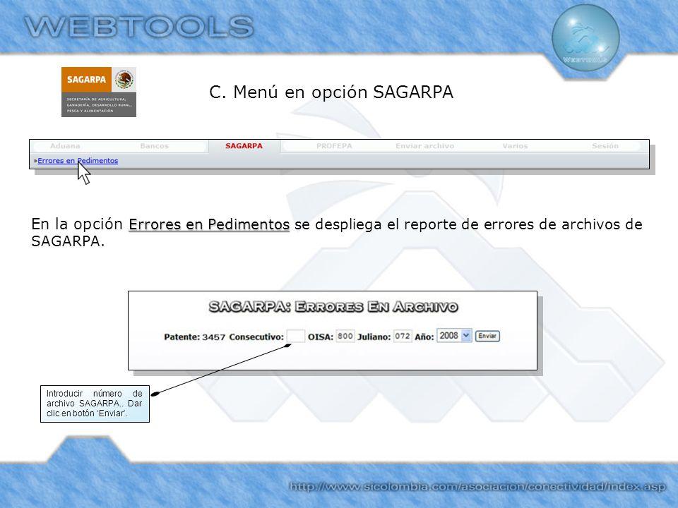 C. Menú en opción SAGARPA