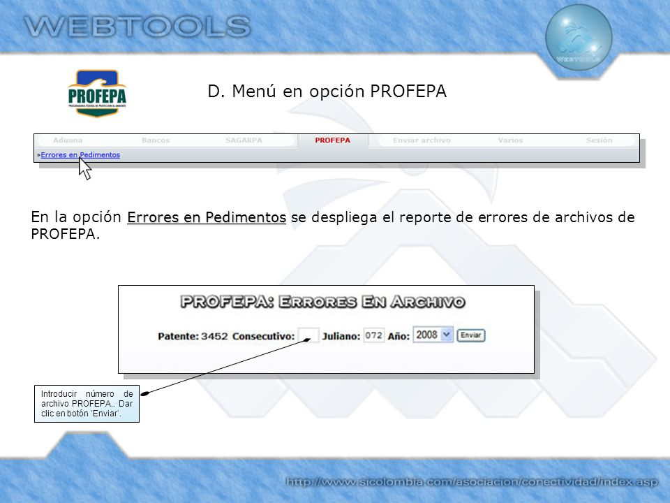 D. Menú en opción PROFEPA