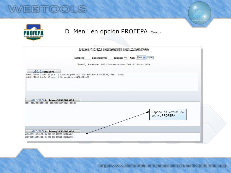 D. Menú en opción PROFEPA (Cont.)