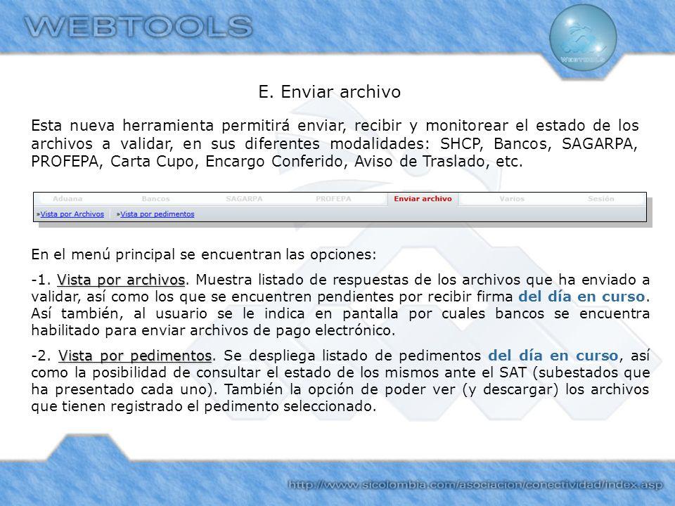 E. Enviar archivo