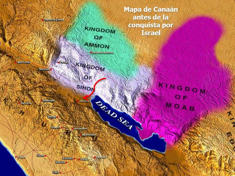Mapa de Canaán antes de la conquista por Israel