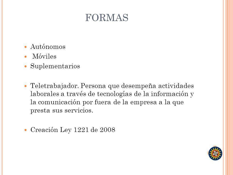 FORMAS Autónomos Móviles Suplementarios